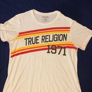 Vintage TRUE RELIGION Cream Striped T-Shirt - XL